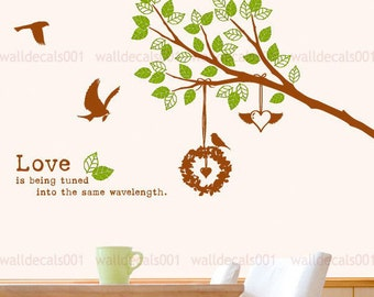Vinyl wall sticker wall decal art-lovely tree branches with birds and birds nest