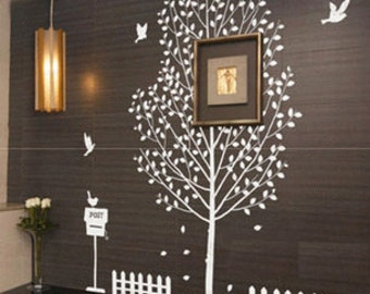 wall decals wall sticker mural Art - lovely garden-postbox,fence,tree,birds