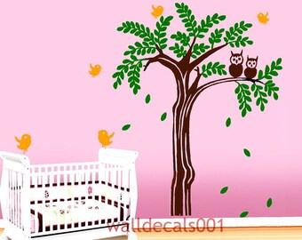 Vinyl Baby Nursery Wall Decals Wall Sticker- lovely owl tree