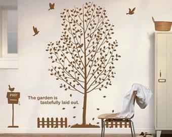 Removable Vinyl wall sticker wall decal Art - lovely garden -tree,post box,birds,fence