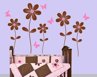 Kids Wall Decals Wall Stickers Flower Butterfly Decals Baby Nursery