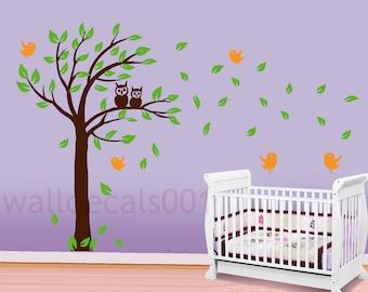 Vinyl Baby Nursery Wall Decals Wall Sticker- Owl tree
