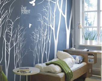 Vinyl Wall Decals Wall Stickesr  tree decal murals,wall art-14 winter trees Tree