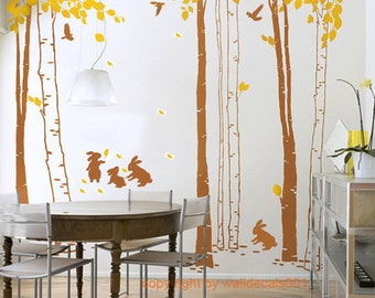 Vinyl Wall Decal,wall Sticker,tree decal, murals,wall decor,wall Art - In the forest-set of 7 trees with rabbits