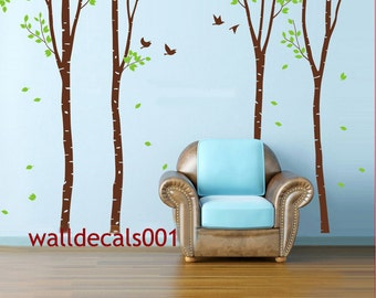 Vinyl Wall Decals wall Sticker -set of 4 100in birch trees