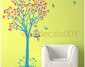Tree wall decal wall sticker tree decal murals wall art-lovely tree with birds
