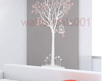Tree wall decals wall stickers -lovely tree with birds