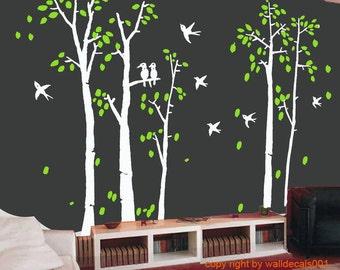 Birch Wall Decal Wall Sticker Tree Decals Nature Room Decor Birds Decal Art  Murals Set Of Part 57