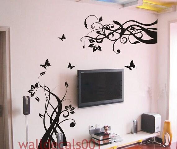 Wall Decals Wall sticker Flower decals butterfly Decal Wall Decor wall art-flower with butterfly