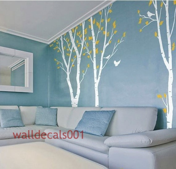 wall decal- Birds in Birch Forest -Set of 3 100in Birch Trees
