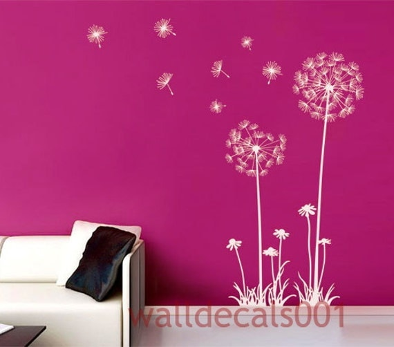 "Dandelions Wall Decals Wall stickers,decal,sticker,decor,Art 60"" tall"