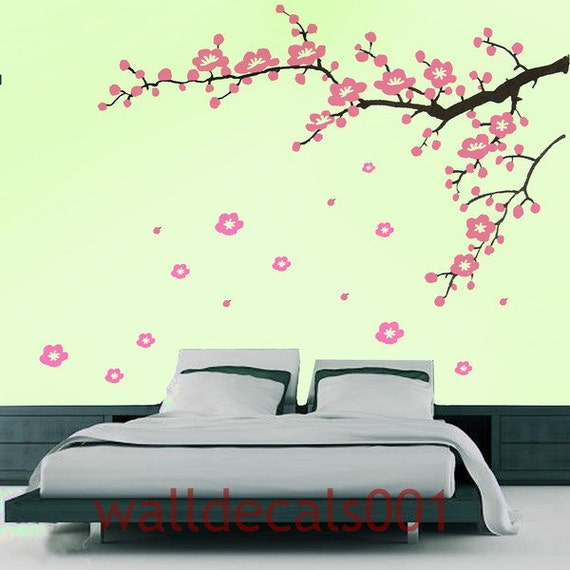 bedroom Wall Decal wall sticker cherry blossom treeflower decal pink decal nature room decor girl wall decor wall art