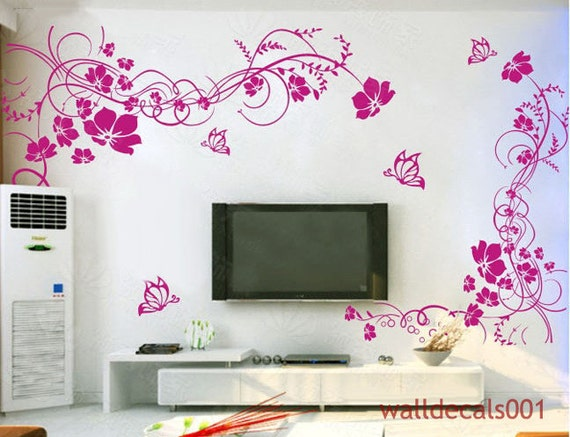 Wall Decals,wall stickers,flower,floral,butterfly,girl,room decor,nature,kids,baby- Beautiful Flower With Butterfly