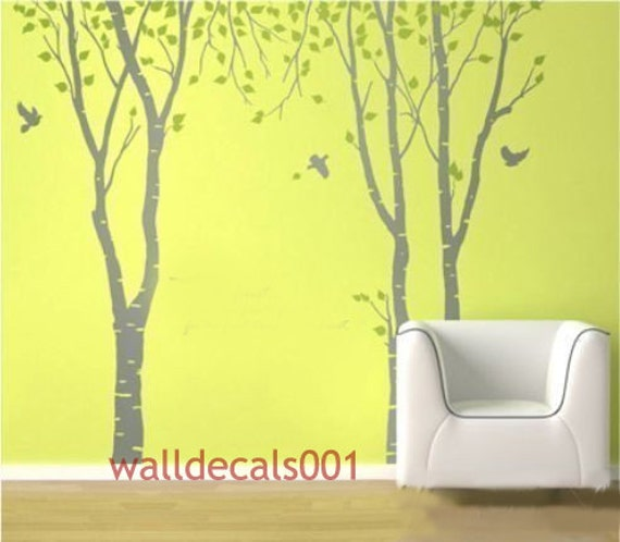 Tree Wall Decals Wall stickers wall decor nature room decor murals wall art - Birds in Birch Forest