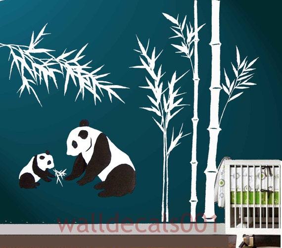 Kids Wall Decal panda decal baby nursery decal bamboo decal nature room decor graphic mural wall art wall decor -panda with bamboo