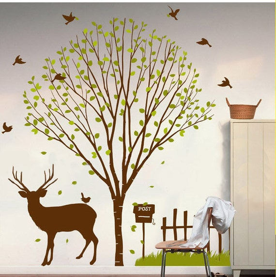 wall decals wall decor wall stickers  tree decals birds decal deer decal kids decal baby nursery decal- tree,deer,birds,grass,fence,post box