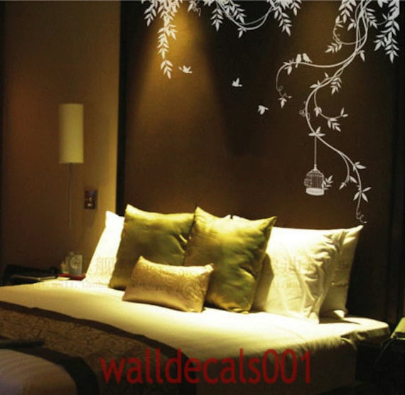 Nature wall decals wall sticker tree decal wall art room decor   -lovely Vines with birds and birds cage