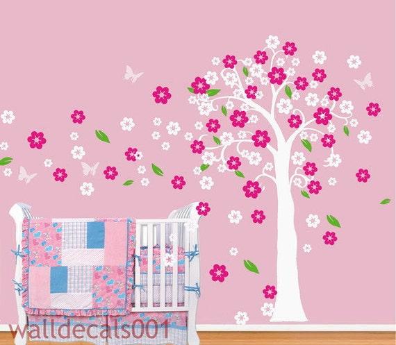 Cherry blossom wall decals Tree decals  Wall stickers,tree,cherry blossom,baby,nursery,girl room decor- Cherry blossom tree