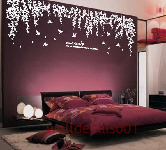 Vinyl wall decals wall stickers tree decals wall murals wall for Purple bedroom ideas tumblr