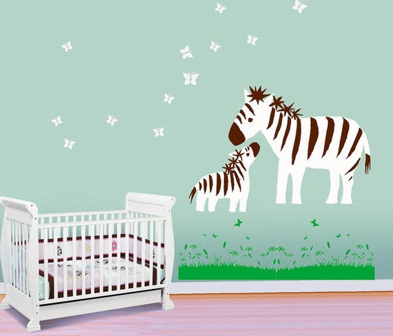 Baby Nursery Wall Decals Wall stickers  Animal decals- zebras playing with butterflies