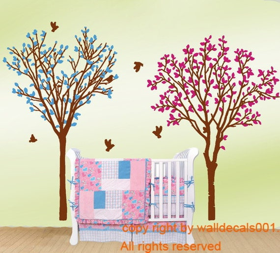 Bayby wall decals wall sticker tree with birds decals nursery decals murals graphic wall art
