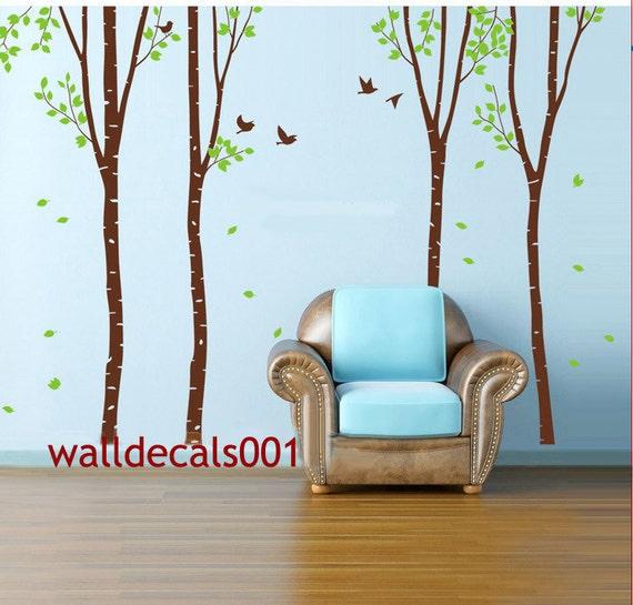 Vinyl Wall Decals wall Sticker -set of 4 100in birch trees