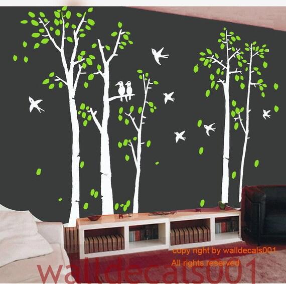 Birch Wall Decal wall Sticker tree decals nature room decor  birds decal Art murals set of 5 birch trees