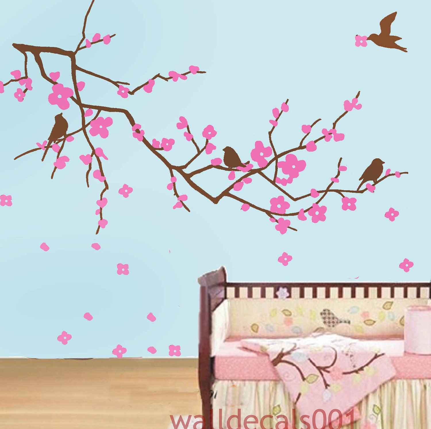 Wall decals cherry blossom decal kids wall art baby decal for Cherry blossom wall mural stencil