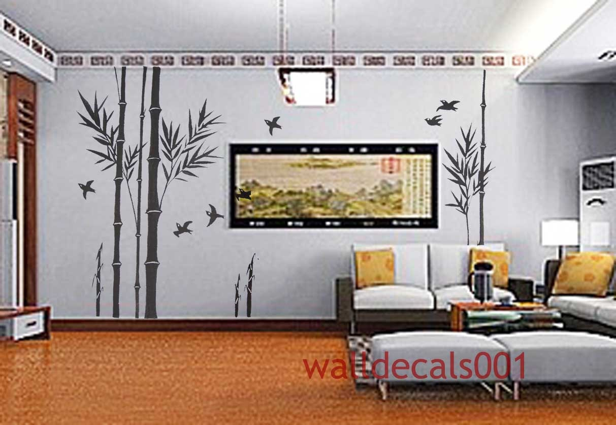 Wall decal wall sticker bamboo decal birds decal room decor zoom amipublicfo Images