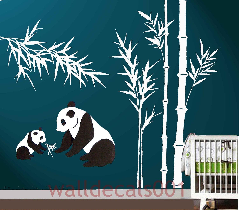 kids wall decal panda decal baby nursery decal bamboo decal zoom