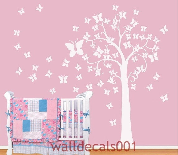 Kids wall decals baby decals nursery decals tree decals for Butterfly wall mural stickers