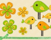 Birds and Flowers Clip Art - Bright Green, Yellow and Orange