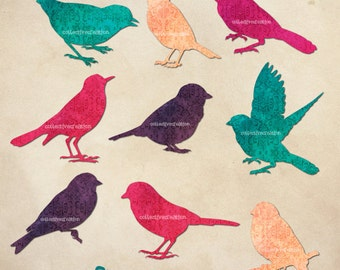 Bird Sparrow Silhouettes in Pink, Turquoise, Purple and Apricots - Digital Clipart Set - Scrapbooking, Paper Crafts Clip Art