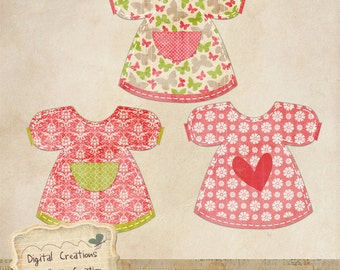 Girl's Dress / Pinafore with Rustic Grunge Texture Digital Clipart