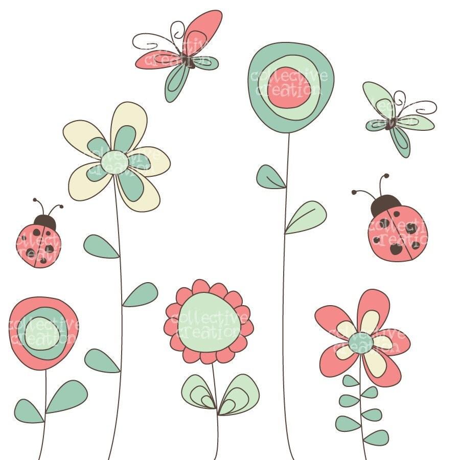 Wild Garden Clipart set Flowers Butterflies by ...