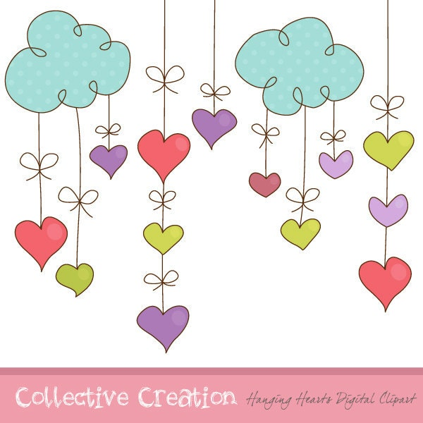 hanging hearts digital clipart set ideal by collectivecreation