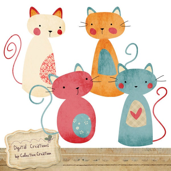 Cute Kitty Cat Digital Clip Art Perfect for by ...