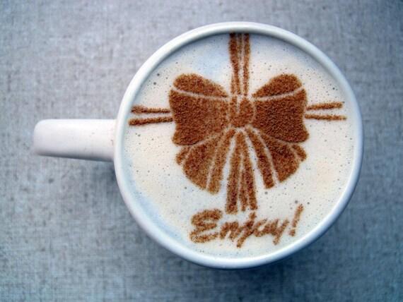 Coffee STENCIL - Beautiful Life - Ribbon, Bow, Gift, Elegant