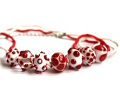 Cherry red and white glass polka dot bead necklace lampwork with natural silk cord
