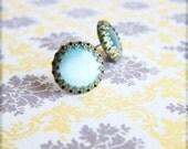 Earrings Blue Glass Studs Earrings Post Vintage Style Wedding Earrings Bridesmaid Gift Robin Blue Something Blue - Jewel Blue