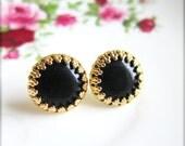 Black Earring Studs Black Gold Stud Earrings Black Gold Post Earrings Black Glass Earrings Modern Boho Chic Jewelry Gift Earrings