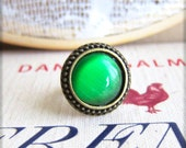 Emerald Green Ring Exotic Bohemian Vintage Style Ring