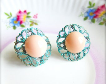 Coral and Mint Green Earrings Coral and Turquoise Earrings Coral and Aqua Earring Stud Post Bridesmaids Gift Wedding Bridal Earrings