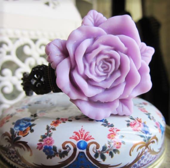 Vintage Watch Bracelet Lilac Lavender Rose Metal Filigree Clasp Bracelet