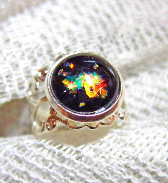 Ring Black Glass Stone Ring Onyx Black Ring Silver Filigree Ring Fire Opal Style Ring Vintage Inspired Ring Lord of the Rings - Moldovia