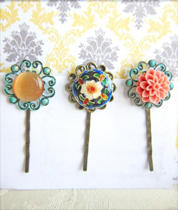Vintage Style Hair Pin Set Exotic Bobby Pin Set of 3 Hair Pins Floral Patina Pink Flower Hair Pins Peach Mint Green - Portia
