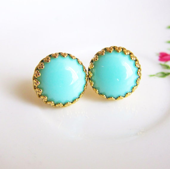 Turquoise Stud Earrings Green and Gold Earrings Aqua Studs Blue Mint Green Gold Post Aquamarine Earrings