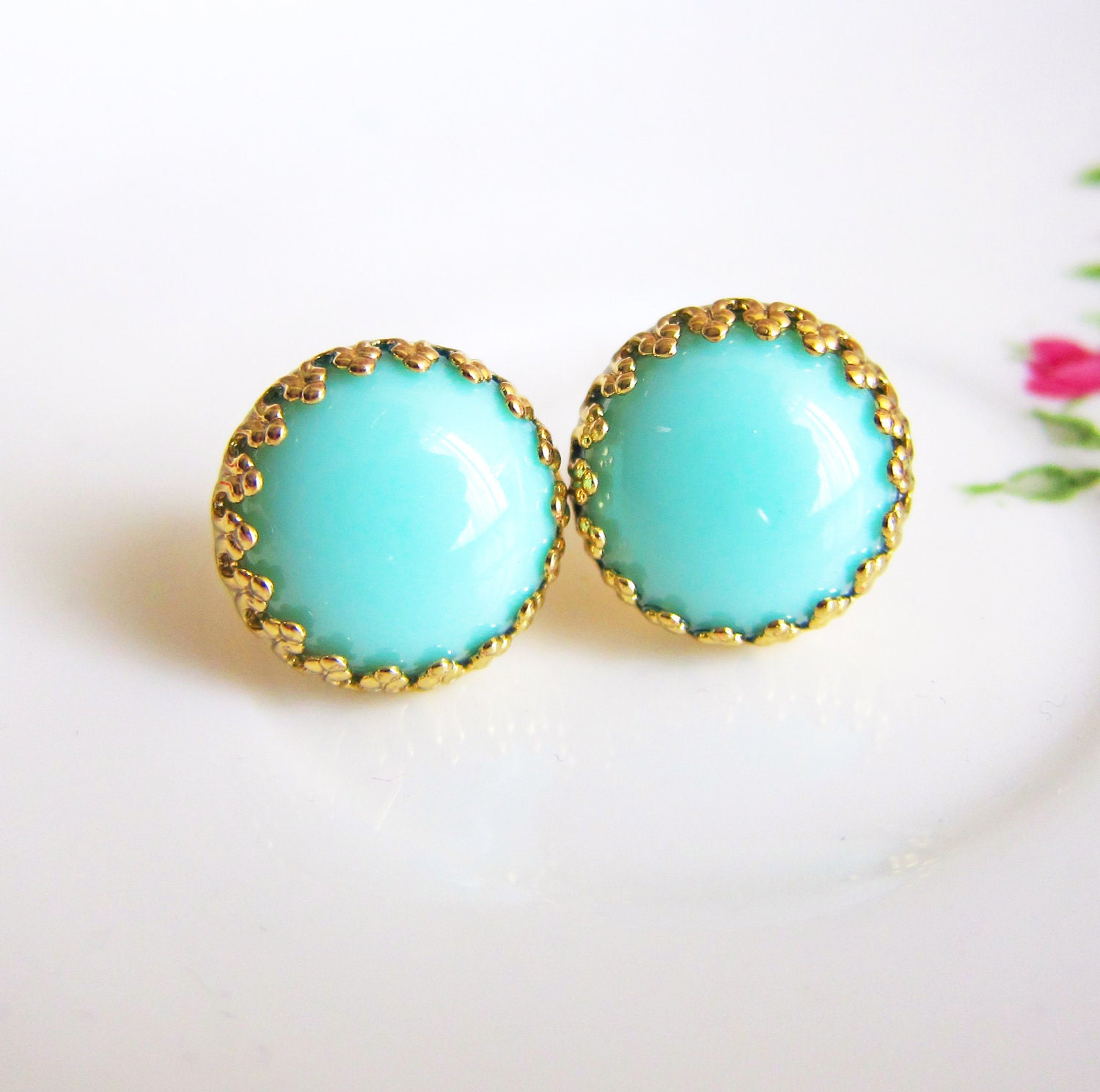 Turquoise Stud Earrings Green And Gold Earrings Aqua Studs