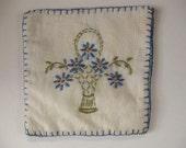 Vintage 1920s Tea Pot pad or Pot Holder, basket of flowers embroidery