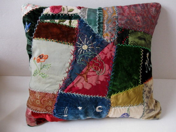 Victorian Crazy Quilt Pillow - stunning fabrics and embroidery